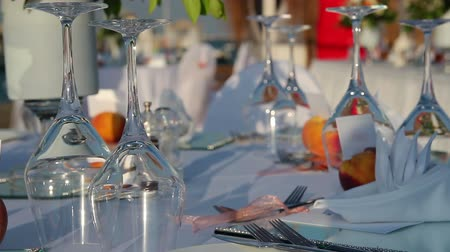 event : able Setting At Outdoor Restaurant Stock Footage