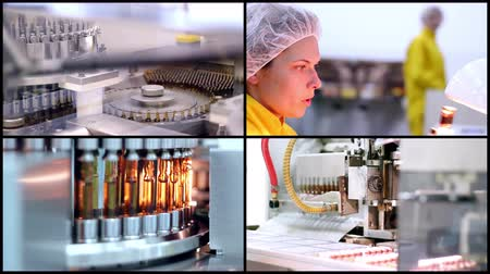 gyógyszertár : Pharmaceutical Manufacturing. Collage of video clips showing pharmaceutical equipment for medicine production in pharmaceutical plant. Stock mozgókép