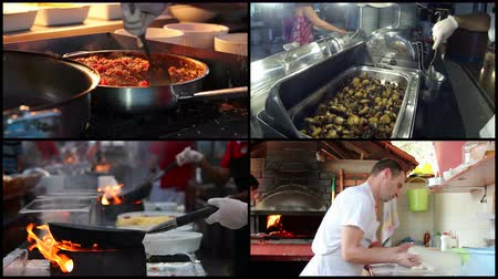 mutfak malzemesi : Professional Chefs Cooking Food in a Commercial Kitchen Stok Video