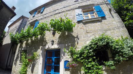 obec : Stone House with Blue Shutters and Vines