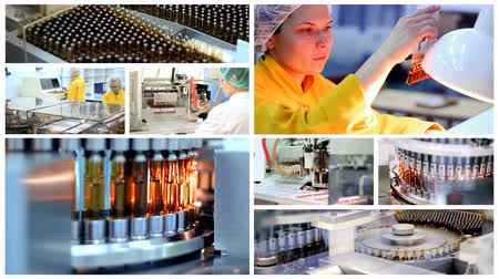 szczepionka : Pharmaceutical Manufacturing - Ampule Medications on the Production Line