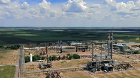 distillation tank : Aerial View of Natural Gas Refinery Stock Footage