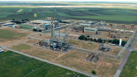 refining : Oil Refinery Aerial Drone Video