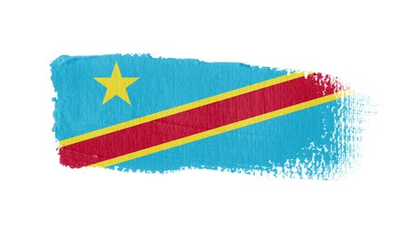 Democratic Republic of the Congo flag painted with a brush stroke