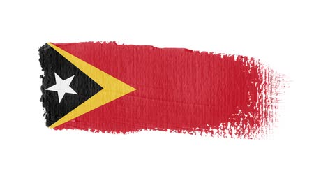 East Timor flag painted with a brush stroke