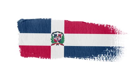 Dominican Republic flag painted with a brush stroke