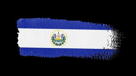 El Salvador flag painted with a brush stroke