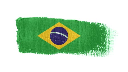 Brazil flag painted with a brush stroke