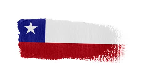 チリ : Chile flag painted with a brush stroke