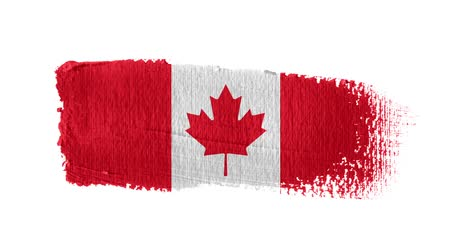 Canada flag painted with a brush stroke