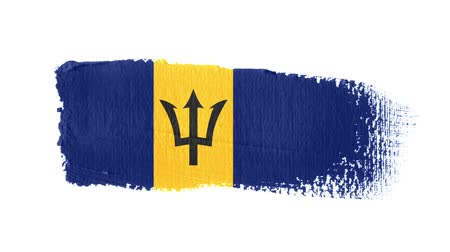 barbados : Barbados flag painted with a brush stroke Stock Footage