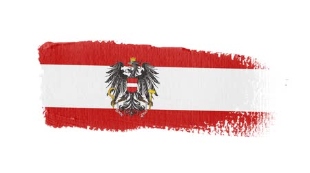 Austria flag painted with a brush stroke