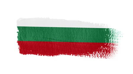 Bulgaria flag painted with a brush stroke Stok Video