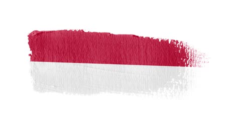 Indonesia flag painted with a brush stroke