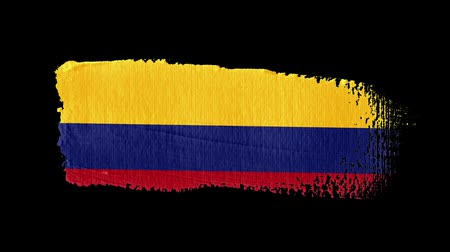 Colombia flag painted with a brush stroke