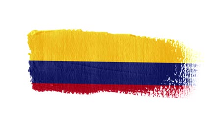 colômbia : Colombia flag painted with a brush stroke