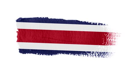 холст : Costa Rica flag painted with a brush stroke