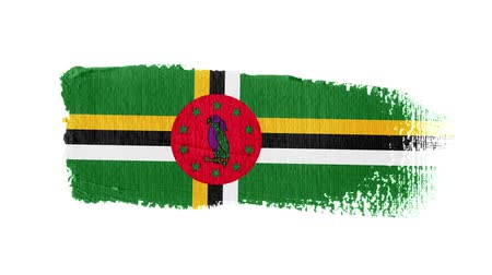 Dominica flag painted with a brush stroke