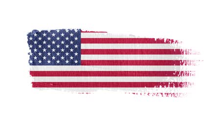 холст : United States flag painted with a brush stroke
