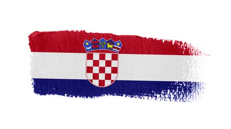 Croatia flag painted with a brush stroke