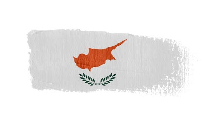 Cyprus flag painted with a brush stroke