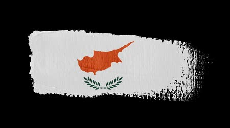холст : Cyprus flag painted with a brush stroke