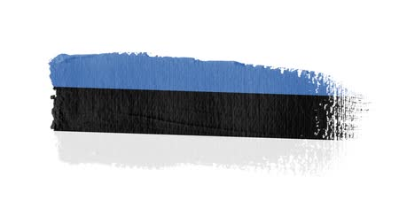 Estonia flag painted with a brush stroke