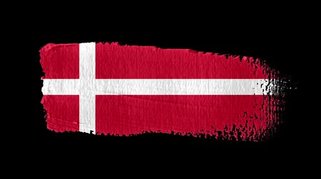 Denmark flag painted with a brush stroke