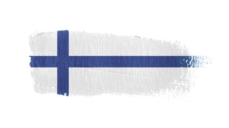 Finland flag painted with a brush stroke