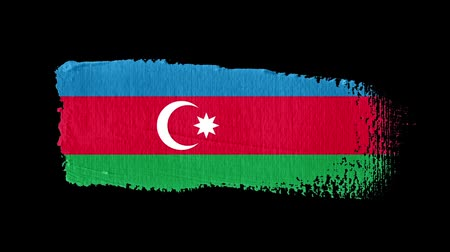 Azerbaijan flag painted with a brush stroke