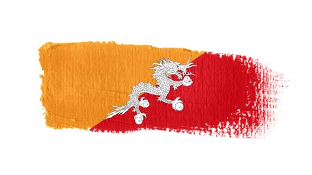 Bhutan flag painted with a brush stroke Stok Video