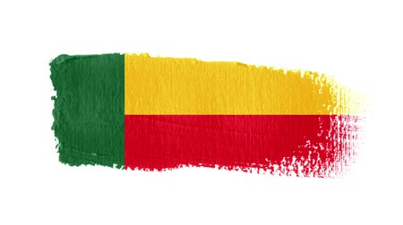 Benin flag painted with a brush stroke Stok Video