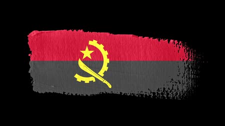 Angola flag painted with a brush stroke