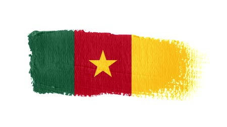 холст : Cameroon Faso flag painted with a brush stroke