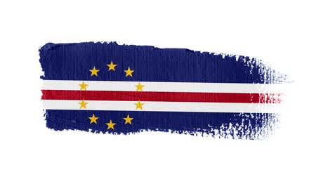 Cape Verde flag painted with a brush stroke