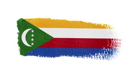 Comoros flag painted with a brush stroke