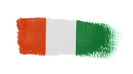 Cote Ivoire flag painted with a brush stroke