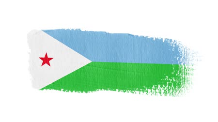 Djibouti flag painted with a brush stroke Stok Video