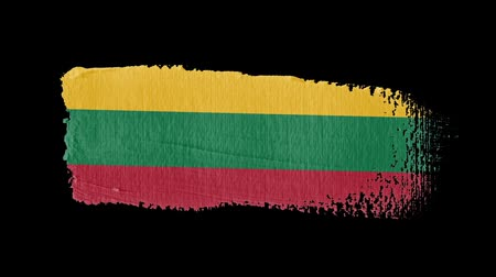 flag of lithuania : Lithuania flag painted with a brush stroke Stock Footage