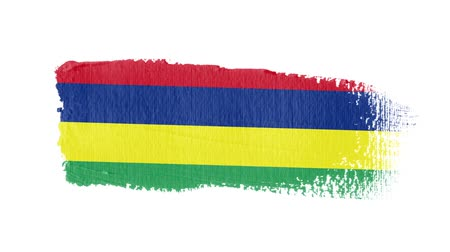 articles : Mauritius flag painted with a brush stroke Stock Footage