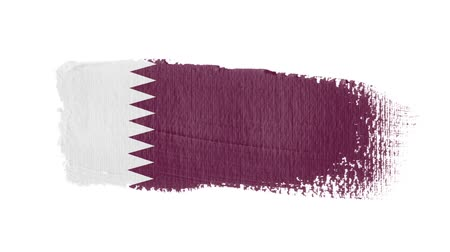 регионы : Qatar flag painted with a brush stroke Стоковые видеозаписи