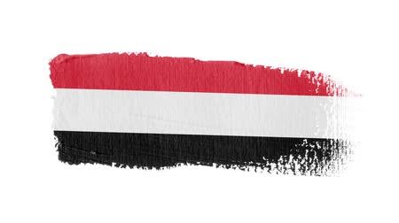 yemen : Yemen flag painted with a brush stroke