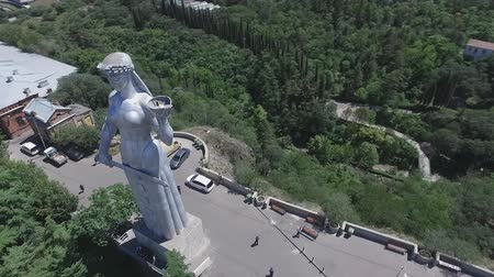 kard : aerial video of the monument Mother Georgia in Tbilisi