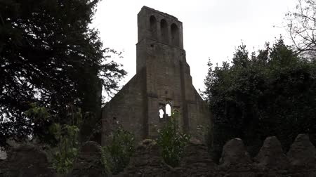 roofless : Church ruins Stock Footage