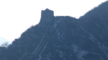 medeniyet : Snow on Great Wall of China Stok Video