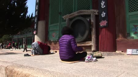 sokcho : South Korea Buddha Temple People Praying Stock Footage