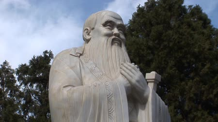 Statue of an old Chinese man Stock Footage