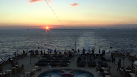 Sunset at the back of a cruise ship