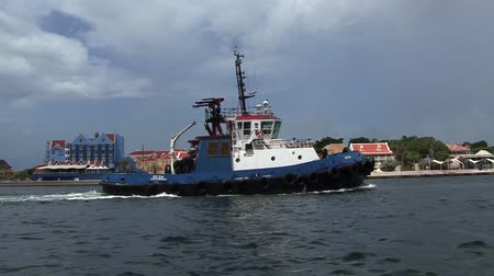 Blue Tug Boat Stock Footage