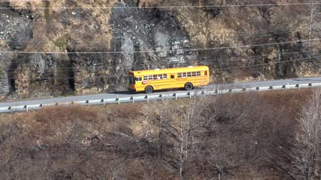 station de bus : Yellow School Bus USA Vidéos Libres De Droits